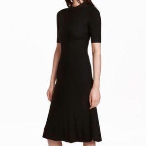 HM Mock Black Sweater Dress Ribbed Stretch